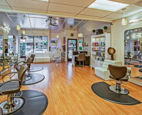 brown chairs inside a salon