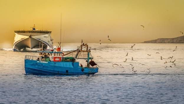 blue fishing boat in the water during sunset