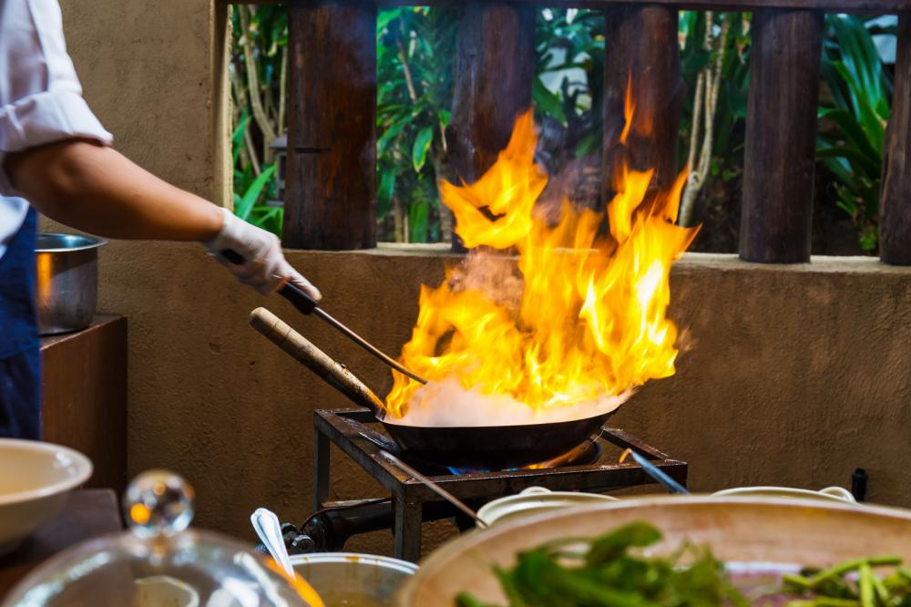 cooking with fire poses the threat of restaurant fire