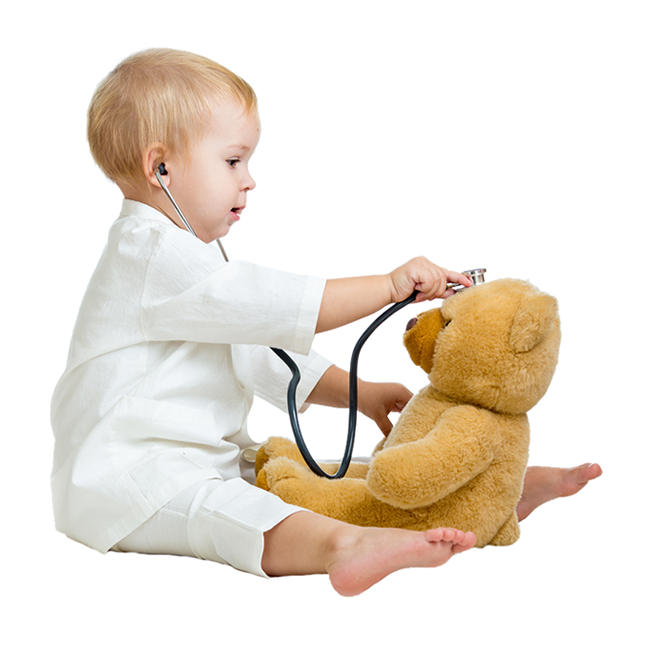 Toddler playing doctor with bear