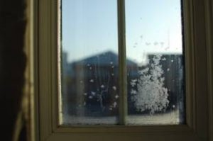 Frosted windows in the winter.
