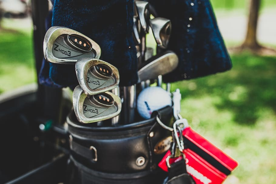 Golf clubs in the caddy