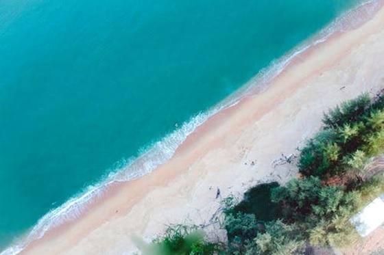 An aerial shot of the beach