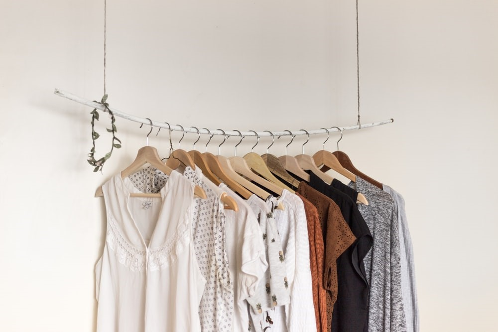 Clothes hanging on a rod