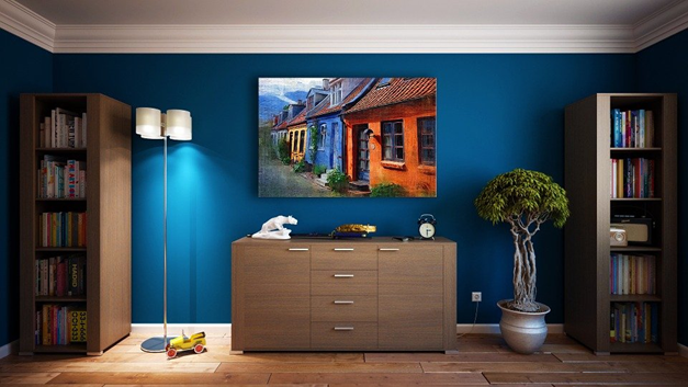 Wall art complementing the room's color scheme