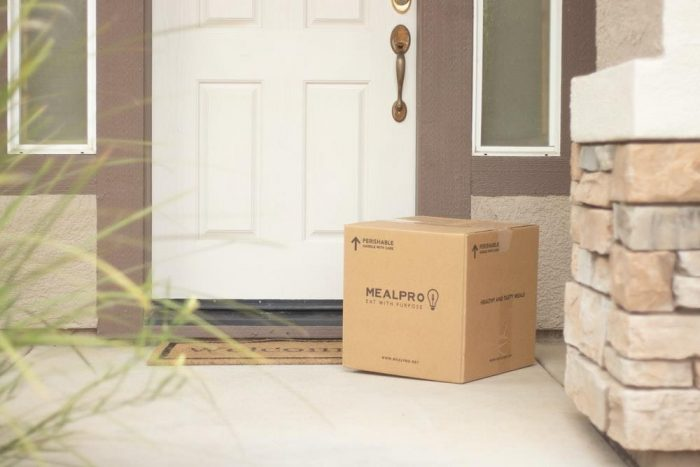 A parcel outside the door of a house