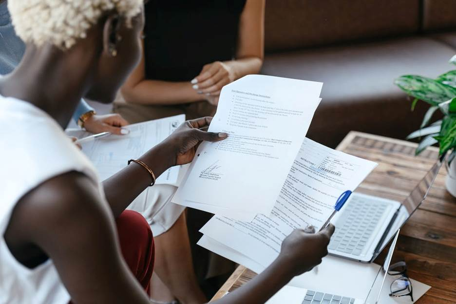 Woman conducting document management