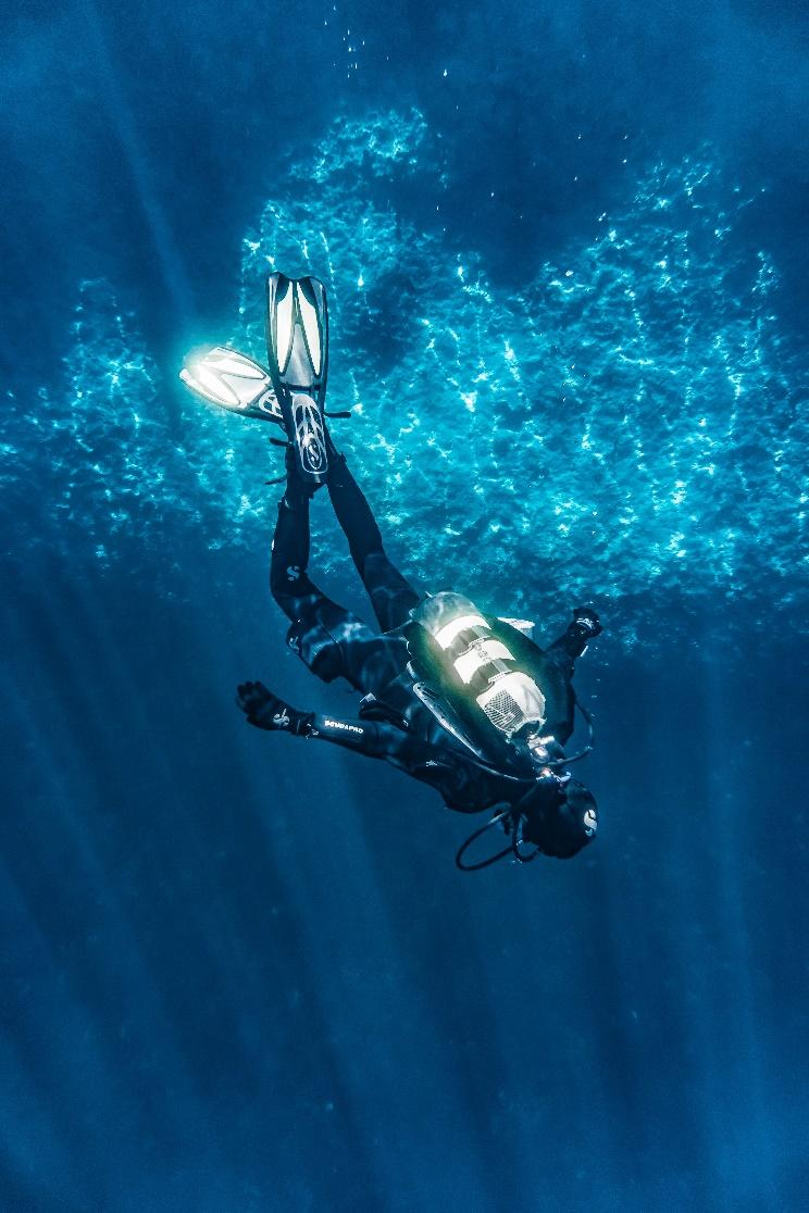 a person diving