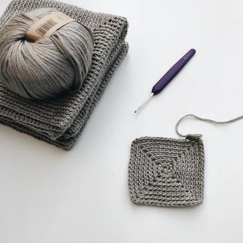 yarn with a crochet hook
