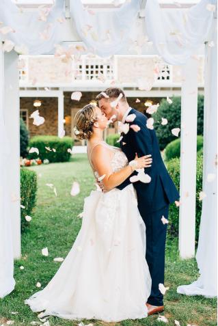A couple with flower shower
