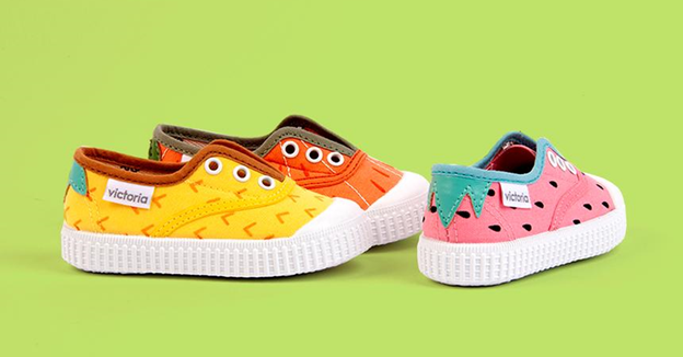 Assortment of fruit themed shoes by Hola Shoes