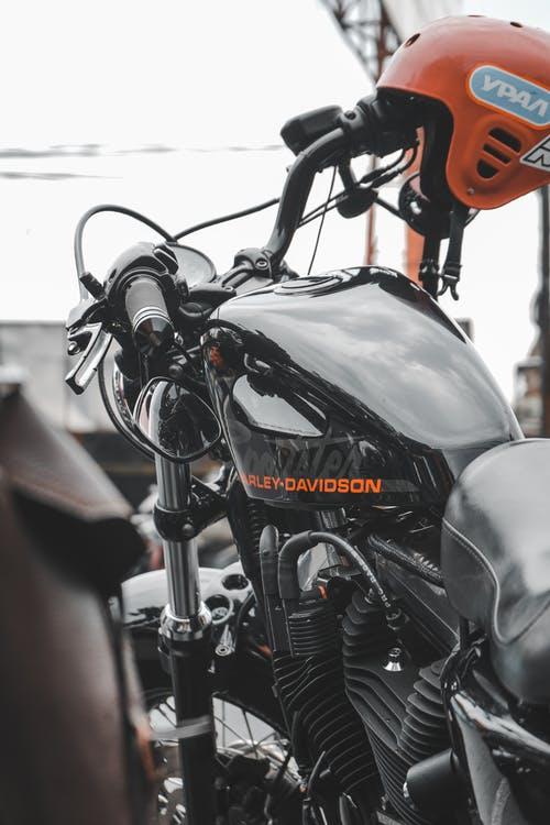 Harley Davidson with a helmet.