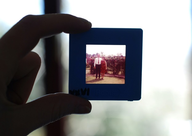 A photo frame with a couple's picture