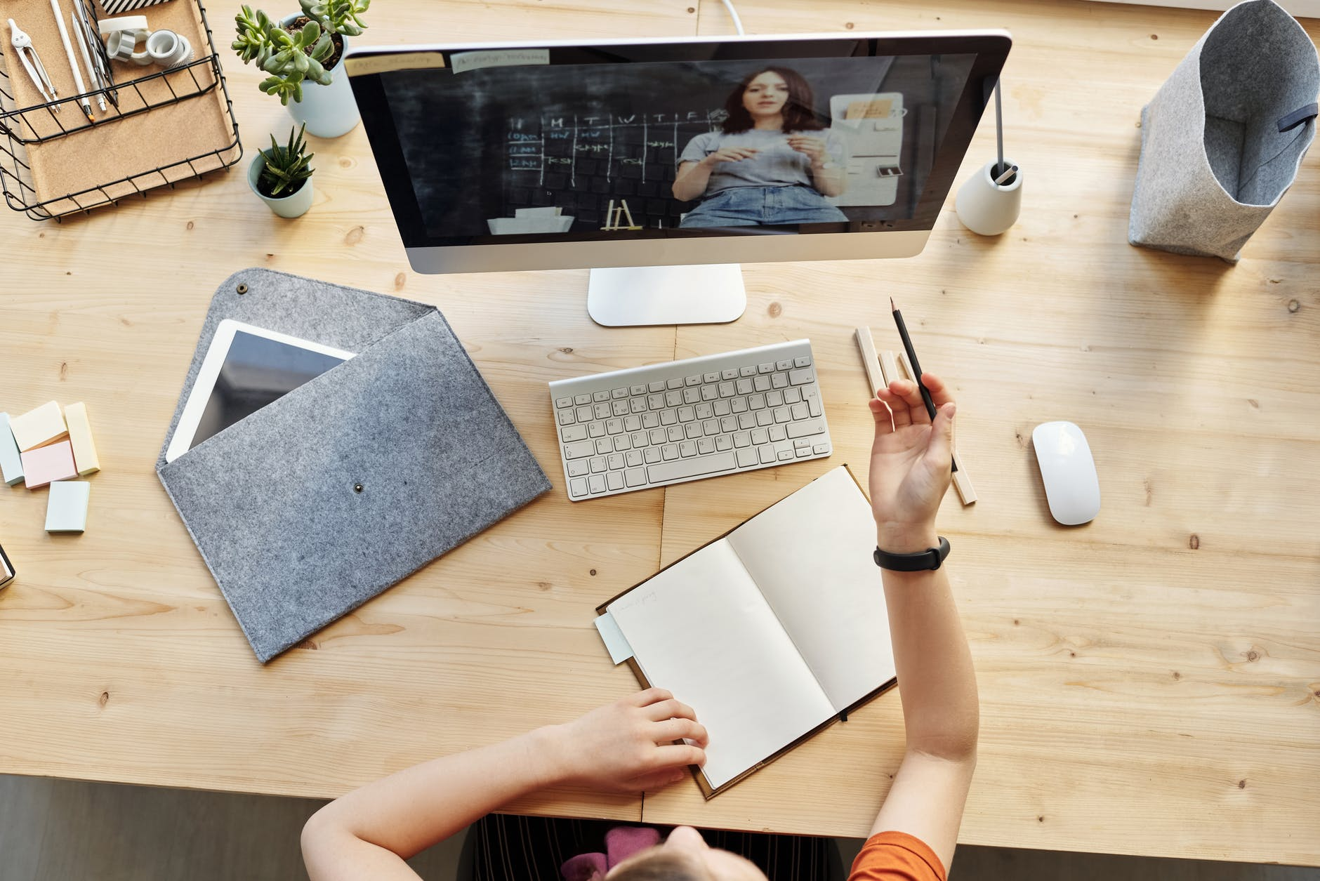 Person attending a virtual meeting during COVID