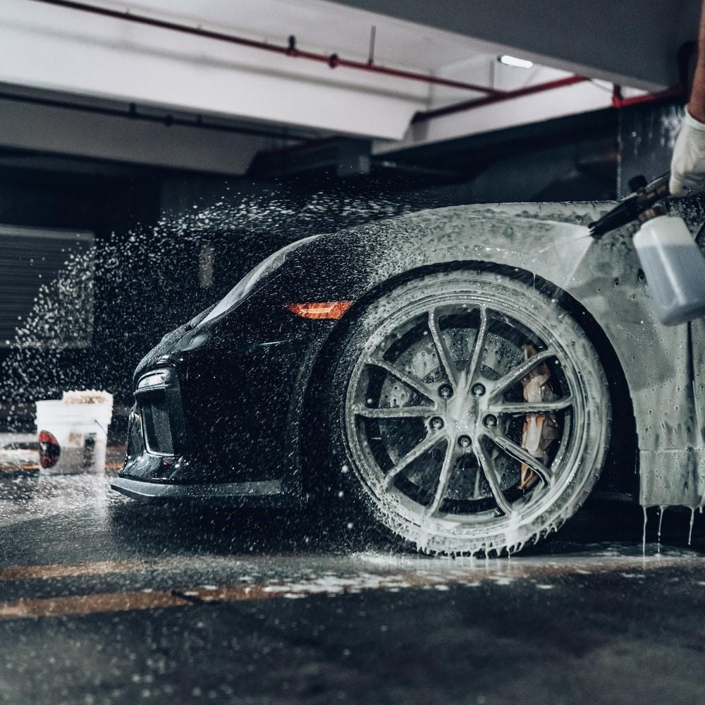 black car being washed