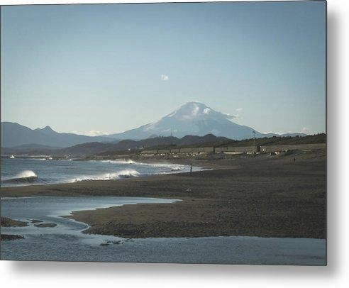 A metal print titled 'Mt. Fuji at Chiba' depicting a gorgeous, distant shot of the mountain.