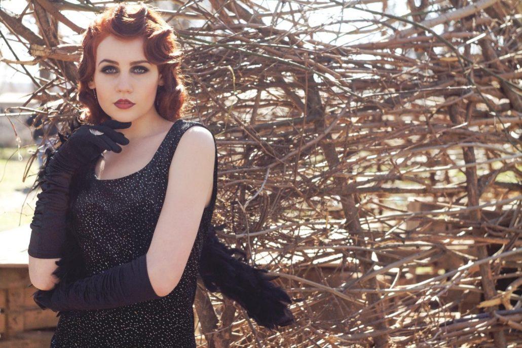 Goth girl wearing a black dress