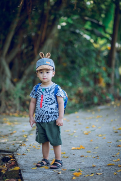 a child standing outside